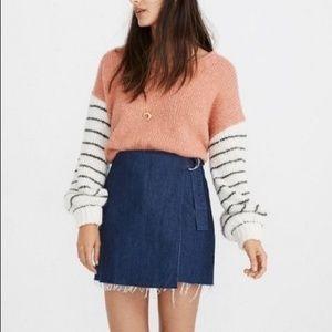 Madewell Skirts - Madewell Denim Wrap Front Raw Hem Mini Skirt
